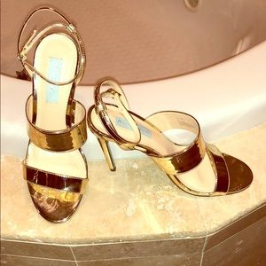 Betsey Johnson Gold strappy heels